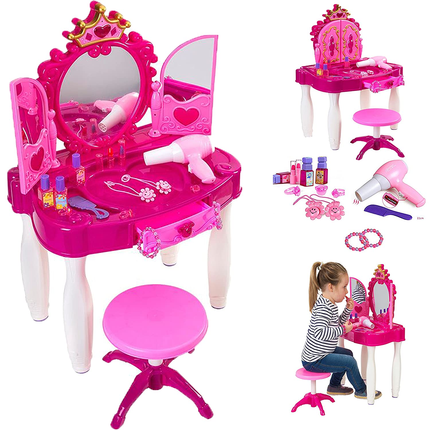 Childrens Girls Pink Vanity Dressing Table Mirror Glitter Jewellery Play  Set Toy: Amazon.co.uk: Toys & Games