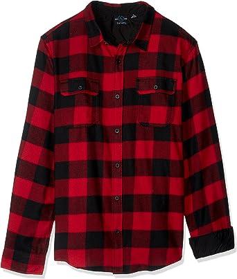 Burnside Camisa de franela a cuadros para hombre: Amazon.es: Ropa y accesorios