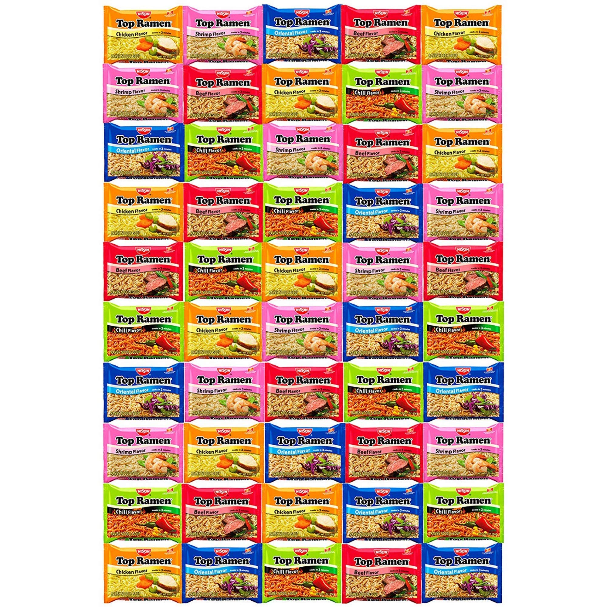 Stubby Pubby Nissin Top Ramen Noodles 5 Different Flavors Variety Sampler Pack (50 Count) by Snacks by Stubby Pubby
