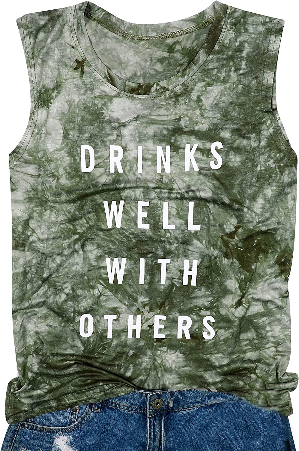 Drinks Well with Others Muscle Tank Tops Womens Funny Drinking Alcohol Sleeveless Letter Printed Graphic Tee Shirt Tops