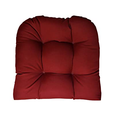 RSH DECOR Sunbrella Canvas Burgundy Wicker Chair Cushion - Indoor/Outdoor 1 Tufted Wicker Chair Seat Cushion : Garden & Outdoor