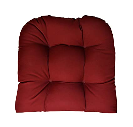 Sunbrella Canvas Burgundy Large Wicker Chair Cushion   Indoor / Outdoor 1  Tufted Wicker Chair Seat