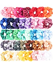 WATINC 40Pcs Silk Satin Hair Scrunchies Set for Women Strong Elastic Hair Bobbles for Ponytail Holder Colorful Hair Accessories Ropes Scrunchy Solid Color Traceless Hair Ties