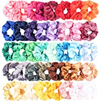 40 Pcs Silk Satin Hair Scrunchies Set for Women Strong Elastic Hair Bobbles for Ponytail Holder Colorful Hair Accessories Ropes Scrunchy Solid Color Traceless Hair Ties