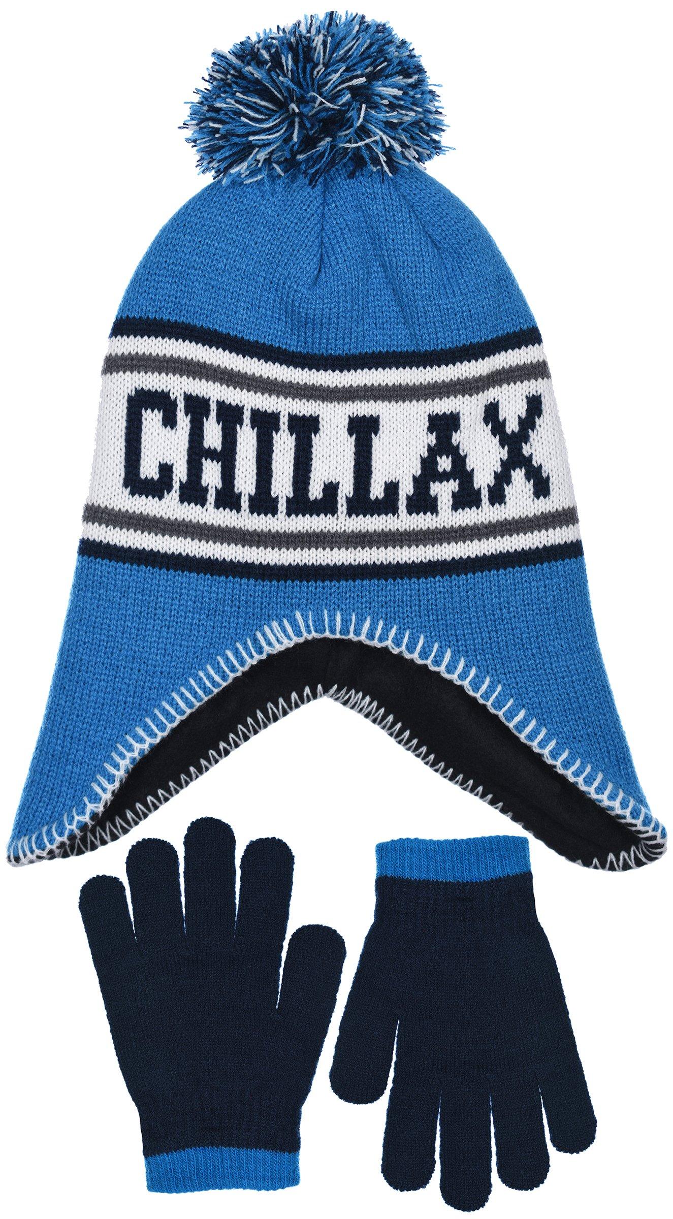 Polar Wear Boy's Knit Hat with Ear Flaps & Gloves Set in Fun Designs (CHILLAX)