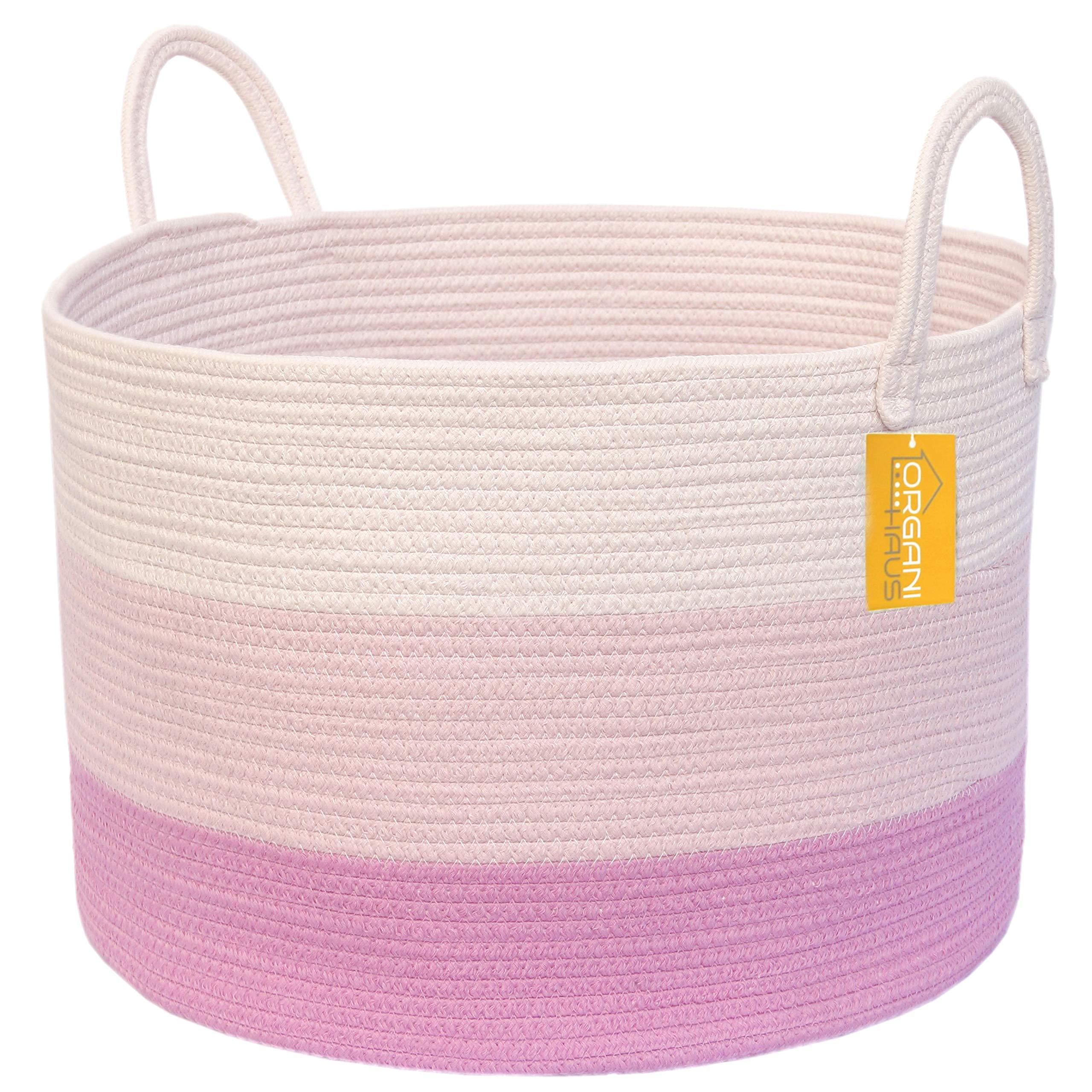 OrganiHaus XXL Extra Large Cotton Rope Basket | 20''x13.5'' Blanket Storage Basket with Long Handles | Decorative Clothes Hamper Basket | Baby and Kids Room Toy Bin | Blanket Basket (Baby Pink)
