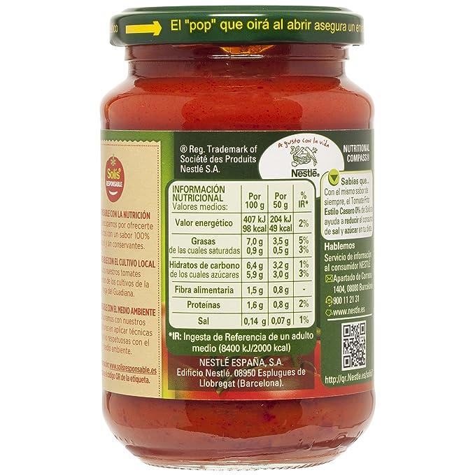 SOLIS Tomate Frito Estilo Casero 0% Sal y Azúcares Añadidos Frasco Cristal - Tomate sin gluten - 350 g - Pack de 6: Amazon.es: Alimentación y bebidas