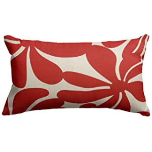 """Majestic Home Goods Red Plantation Indoor / Outdoor Small Throw Pillow 20"""" L x 5"""" W x 12"""" H"""
