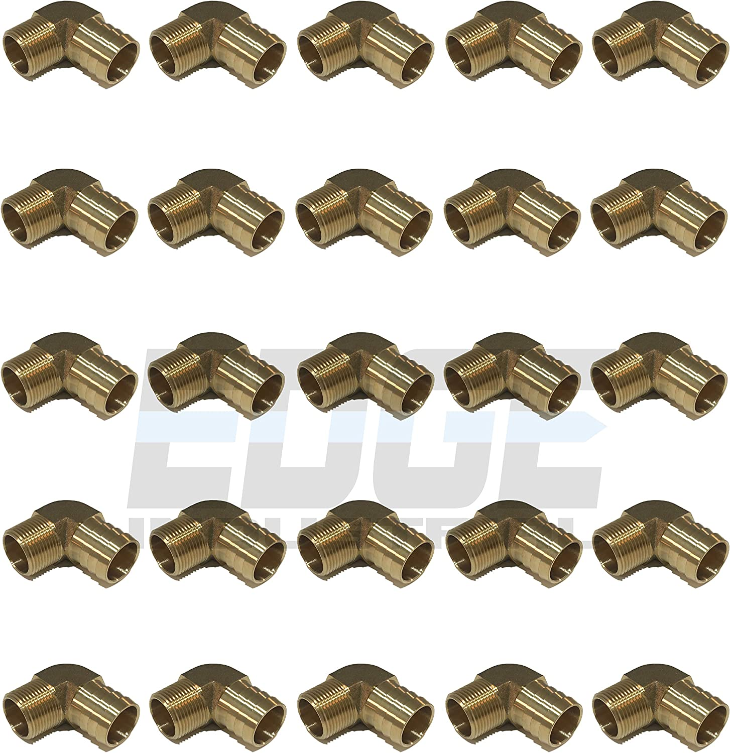Qty 01 EDGE INDUSTRIAL 1 Hose ID to 3//4 Male NPT MNPT 90 Degree Brass Elbow Fitting Fuel WOG Water Oil Gas AIR