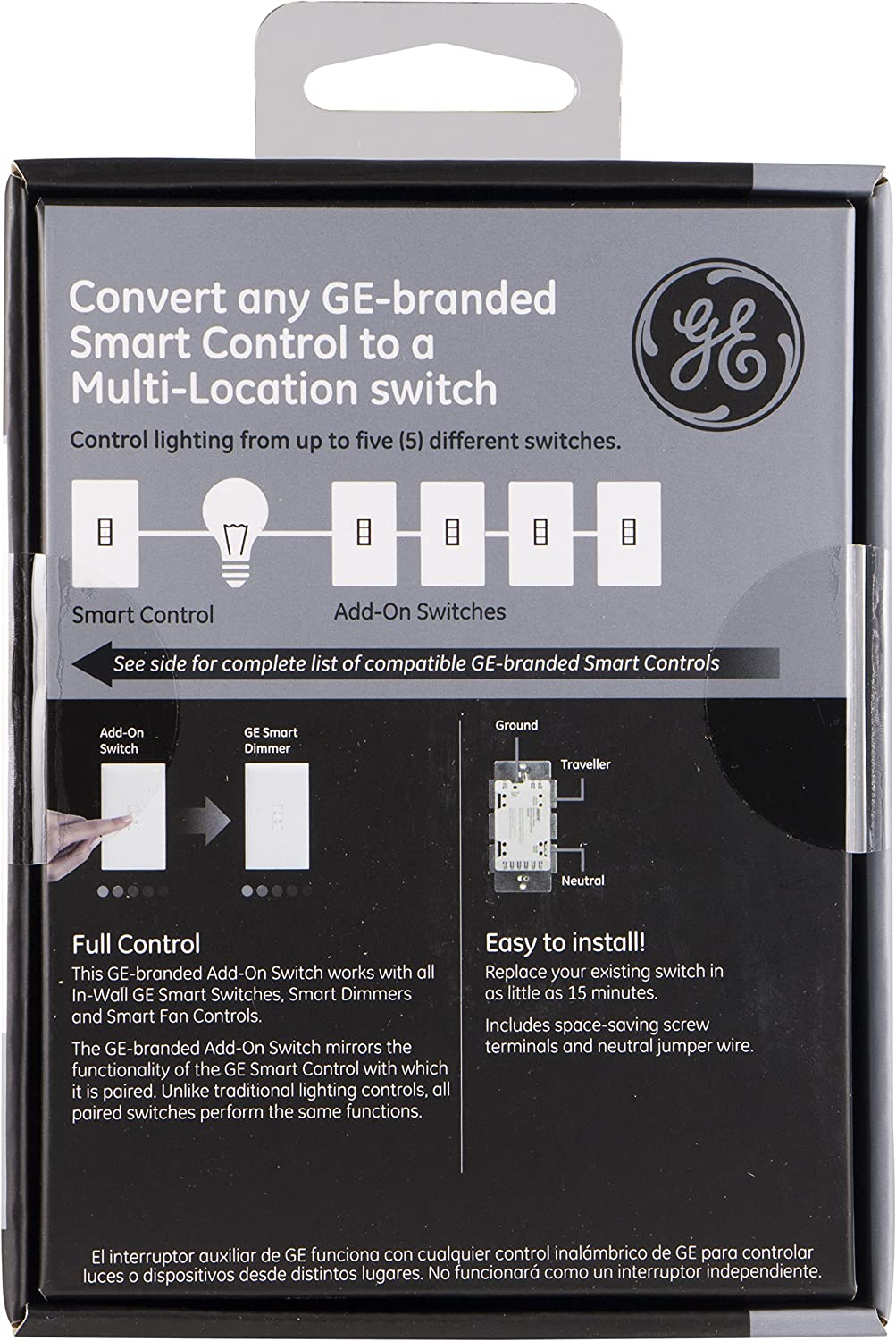 Ge Add On Toggle Style Switch Only For Z Wave Zigbee And Lighting Wiring Light With Neutral Zwave Home Bluetooth Wireless Smart Controls White Not A Standalone 12728