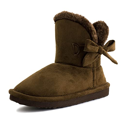 7ac193d1e9bbf Kali Footwear Girls Ribbon Fur Ankle Short Faux Suede Boots Brown 8 M US  Toddler