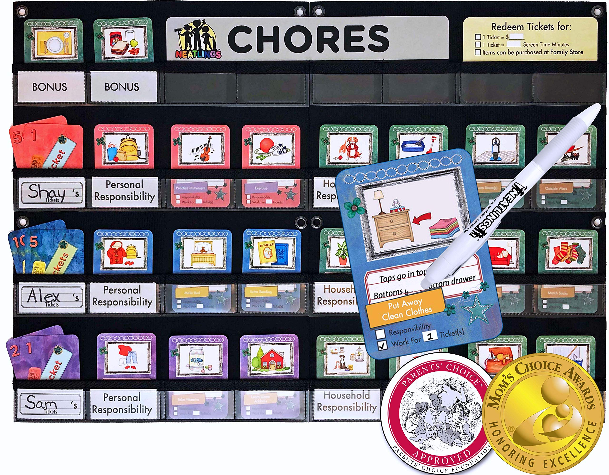"""NEATLINGS Chore System - Chore Chart for Kids   80+ Chores for Toddlers to Teens   Customize for 1-3 Kids   Size 25""""x18""""   Teal Household Chore Cards/Purple, Pink, Dark Blue Self-Care Chore Cards"""