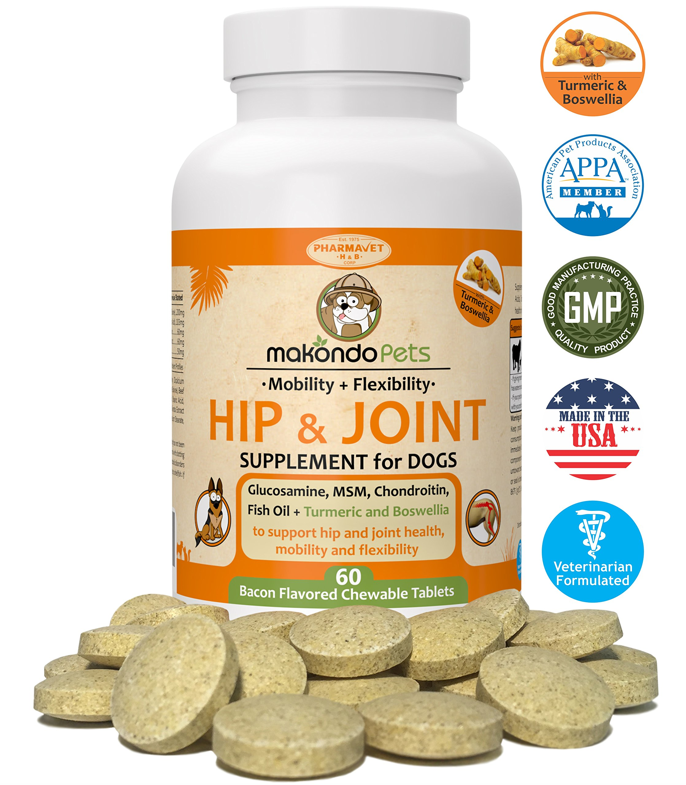 Makondo Pets Hip and Joint Supplement with Glucosamine for Dogs, Turmeric, Chondroitin, MSM, Vitamins, Fish Oil and Natural Boswellia - Get the Best Joint Supplement for Dogs