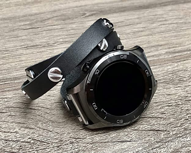 Amazon.com: Black Genuine Leather Bracelet For Huawei Watch ...
