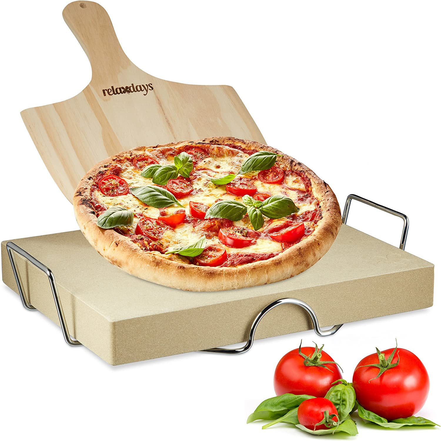 Relaxdays Set 5 cm Thick w/Metal Holder Peel Made of Wood, Size: 7 x 43 x 31.5 cm Rectangular Bread Baking Stone Tarte Flambees w/Pizza Pusher for Ovens, Natural, 31.5 x 43 x 7.cm, Beige
