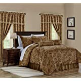 Adelle 7-Piece Paisley Jacquard Embroidered Comforter Bedding Set, Queen Size