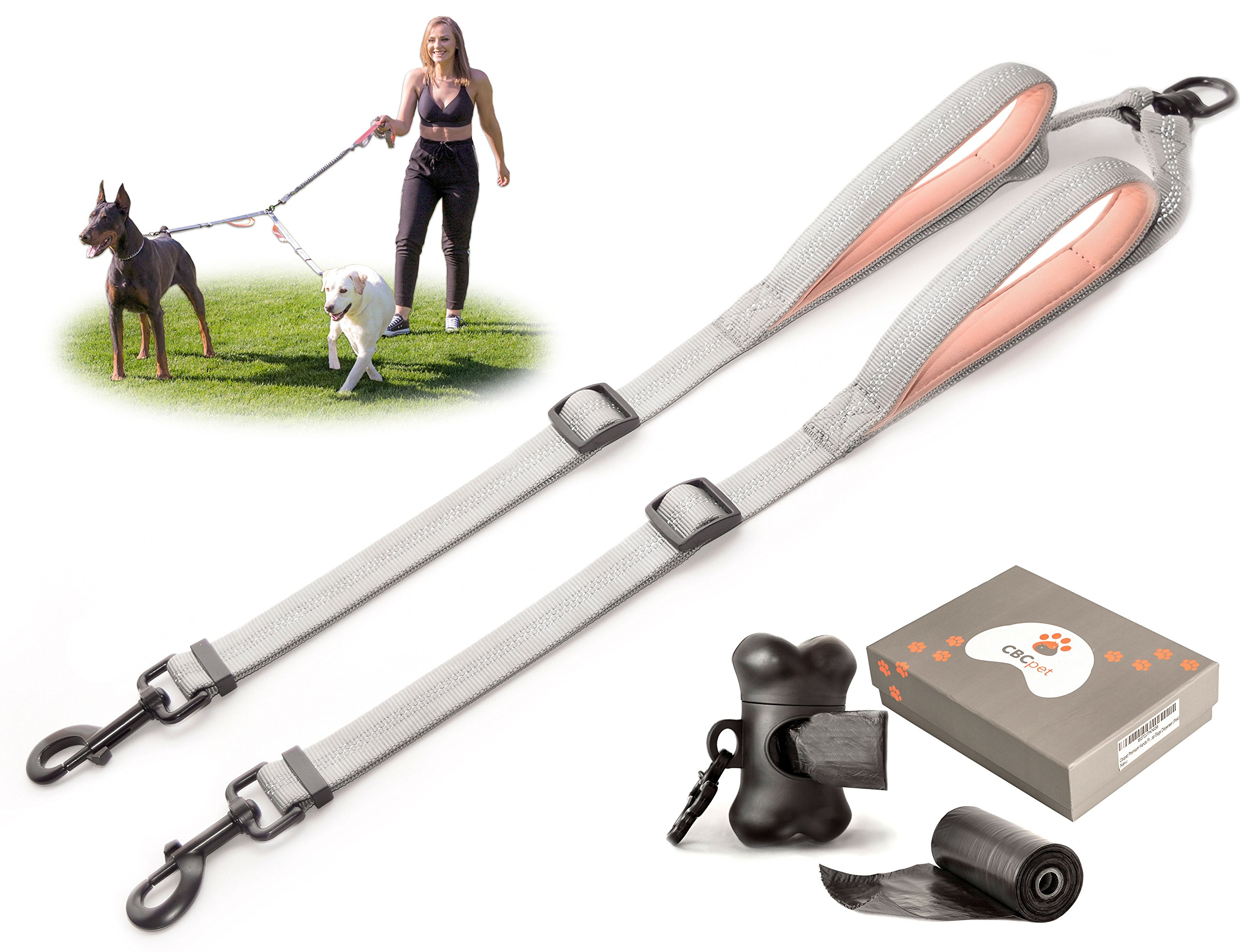 CBCpet Double Dog Leash for Running/Walking/ Hiking with Adjustable Splitter and Strong Dual Handles, Tangle-Free, for 2 Medium or Large Dogs & Poop Bags Dispenser Kit