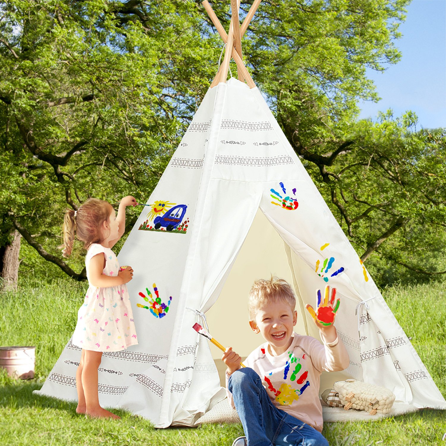labebe tipi zelt kinderzimmer tipi spielzelt blau f r kinder im alter von 2 5 jahren spielzelt. Black Bedroom Furniture Sets. Home Design Ideas