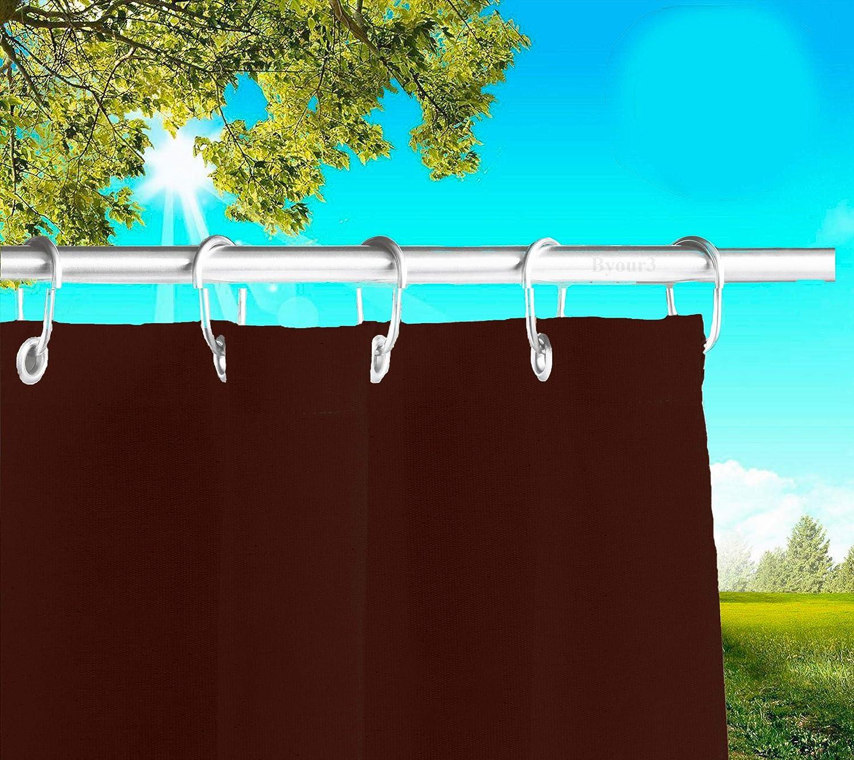 Toldos exteriores con agujeros en la parte de Arriba y los ganchos de metal Tejido antimoho repelente al agua Toldo de tela de algod/ón resinado para terrazas Gazebos Balcon Tortola anchoX 280cm