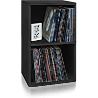 Way Basics 2-Shelf Vinyl Record Storage Cube and LP Record Album Storage Shelf, Black (Tool-Free Assembly and Uniquely Crafted from Sustainable Non Toxic zBoard paperboard)
