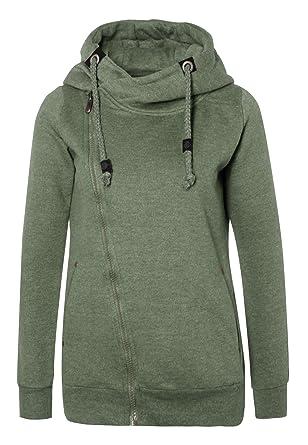 01c6bb7fddd9 Sublevel Sweatjacke mit Zipper   Kapuze   Cooler Damen Hoodie - schräger  Reißverschluss, Uni-