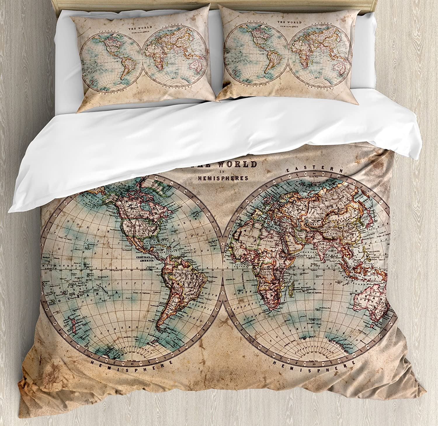 World Map Blueprint Duvet Cover