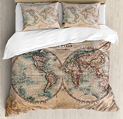 Amazon world map duvet cover set by ambesonne the world in world map duvet cover set by ambesonne the world in hemispheres vintage old map design gumiabroncs Images