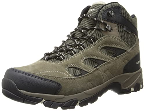 Hi-Tec Mens Smokey Brown/Olive/Snow Suede Logan WP W Hiking Boots 8.5W