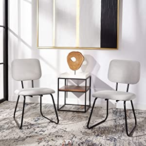 Safavieh Home Collection Chavelle Modern Grey Velvet/Black Side Chair (Set of 2) ACH6205C-SET2