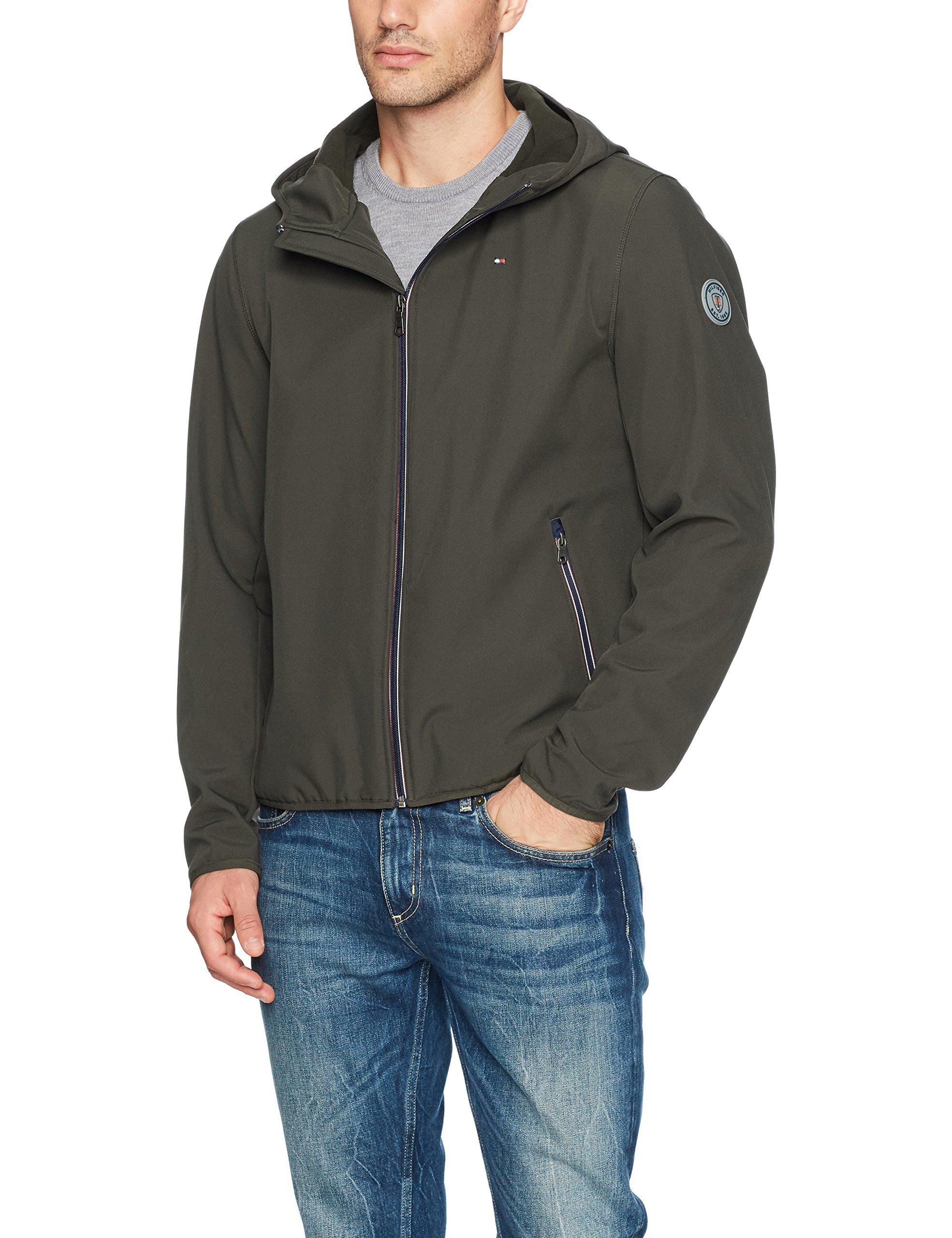 Tommy Hilfiger Men's Hooded Performance Soft Shell Jacket, Olive, Large