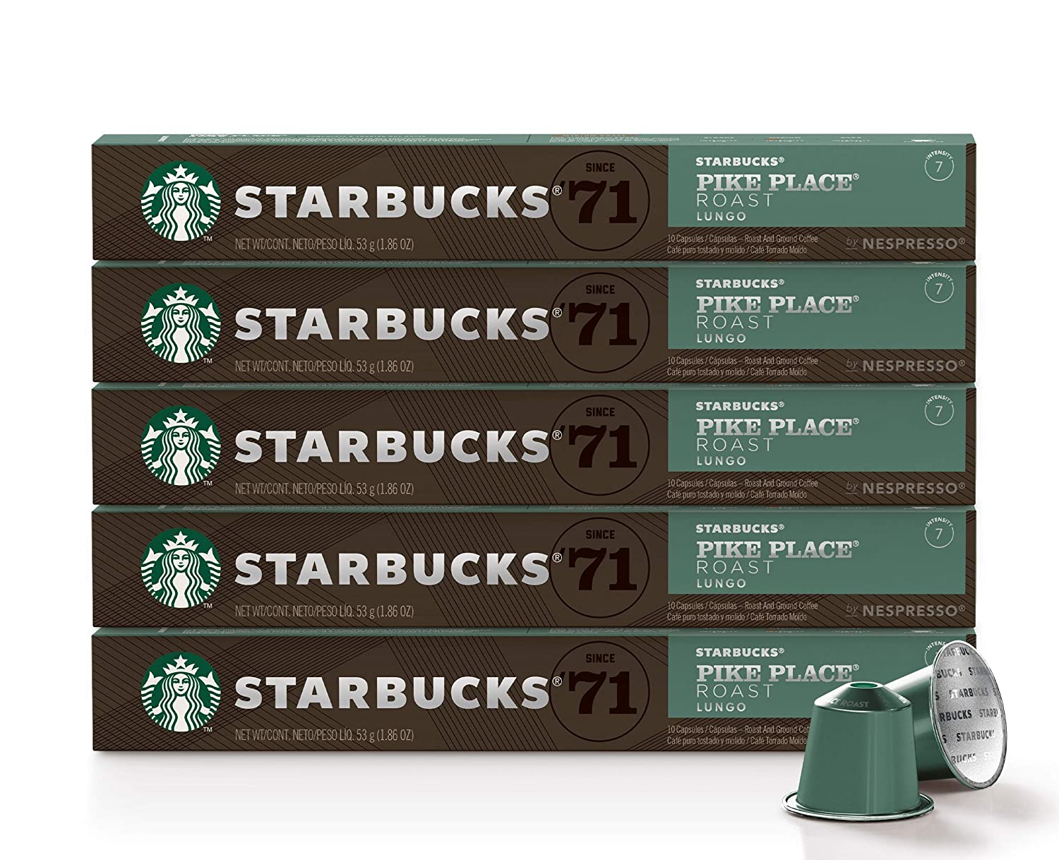 Starbucks by Nespresso, Pike Place Roast (50-count single serve capsules, compatible with Nespresso Original Line System)