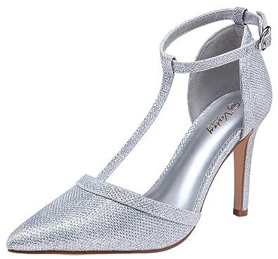 033b84514f2 VOSTEY Women Pumps Rivet High Heels T-Strap Pumps for Women (Silver Glitter  8