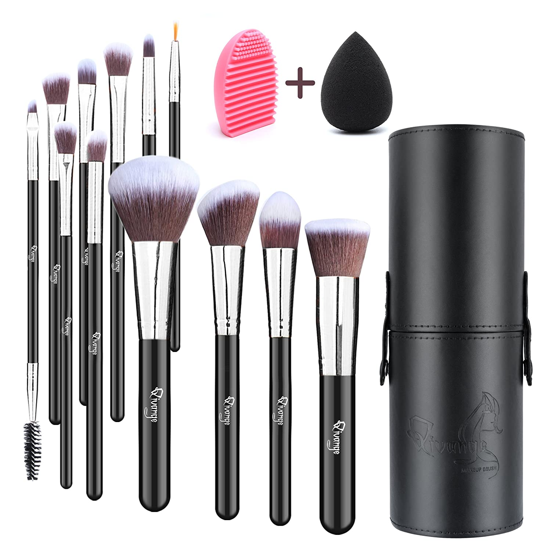 Qivange Makeup Brushes, Professional Foundation Eyeshadow Blending Brushes Set with Brush Holder+ Sponge & Brush Cleaner(Black with Rose Gold, 12pcs)