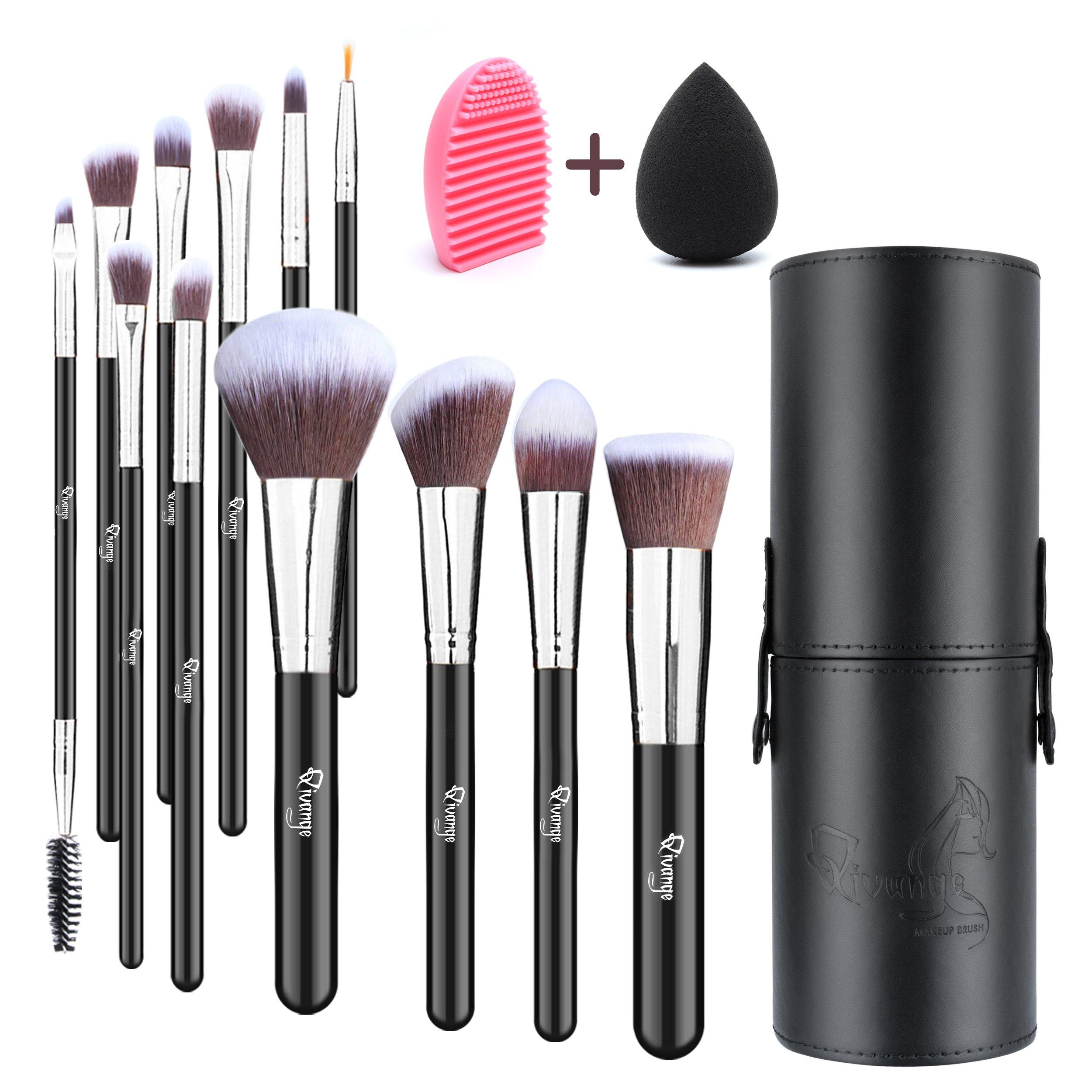 Qivange Makeup Brush Set, Synthetic Makeup Brushes with Case, Makeup Sponge & Makeup Brush