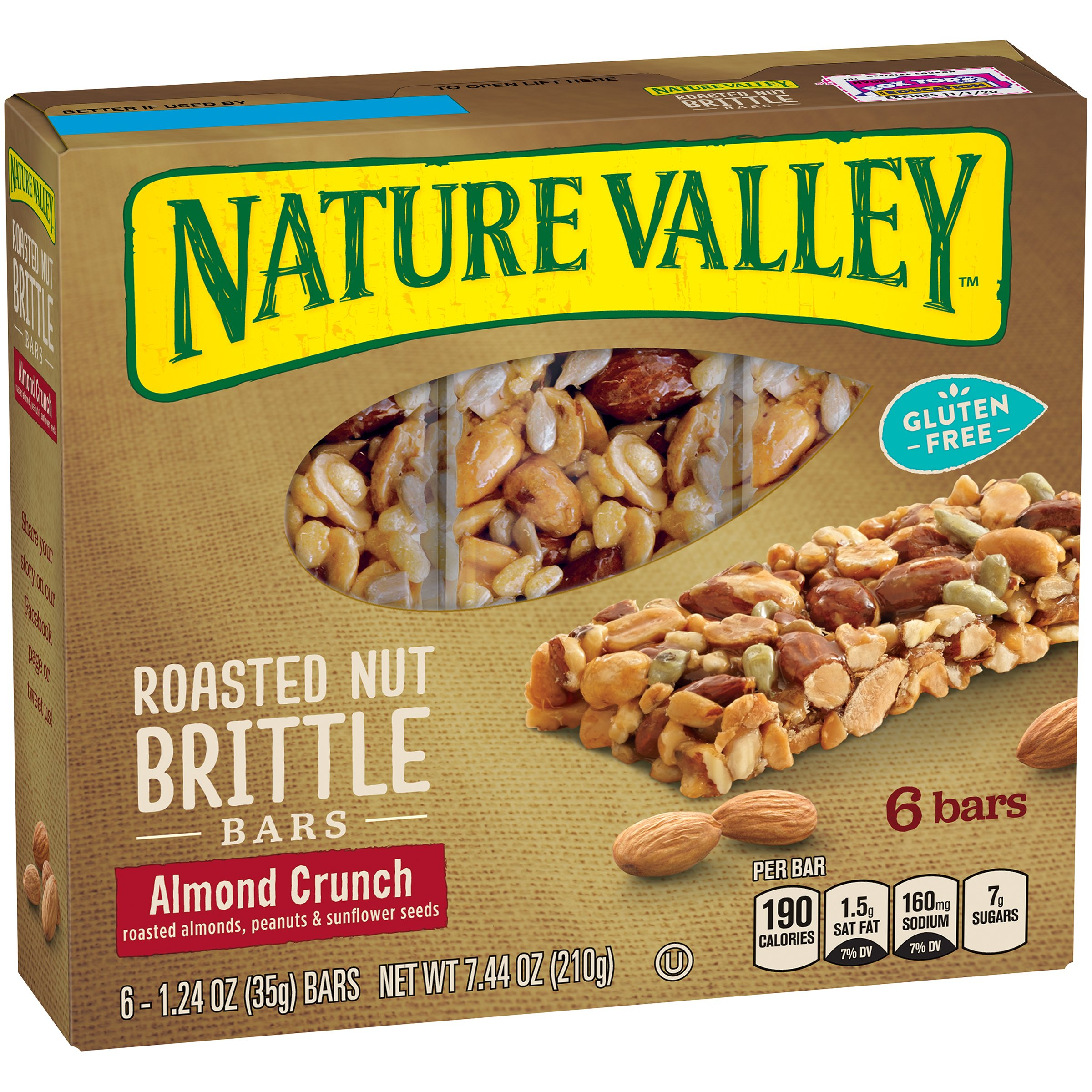 Nature Valley, Roasted Nut Crunch, Almond Crunch (Roasted Almonds, Peanuts & Sunflower Seeds), 6 Count, 7.2oz Box (Pack of 4) (Almond Crunch)