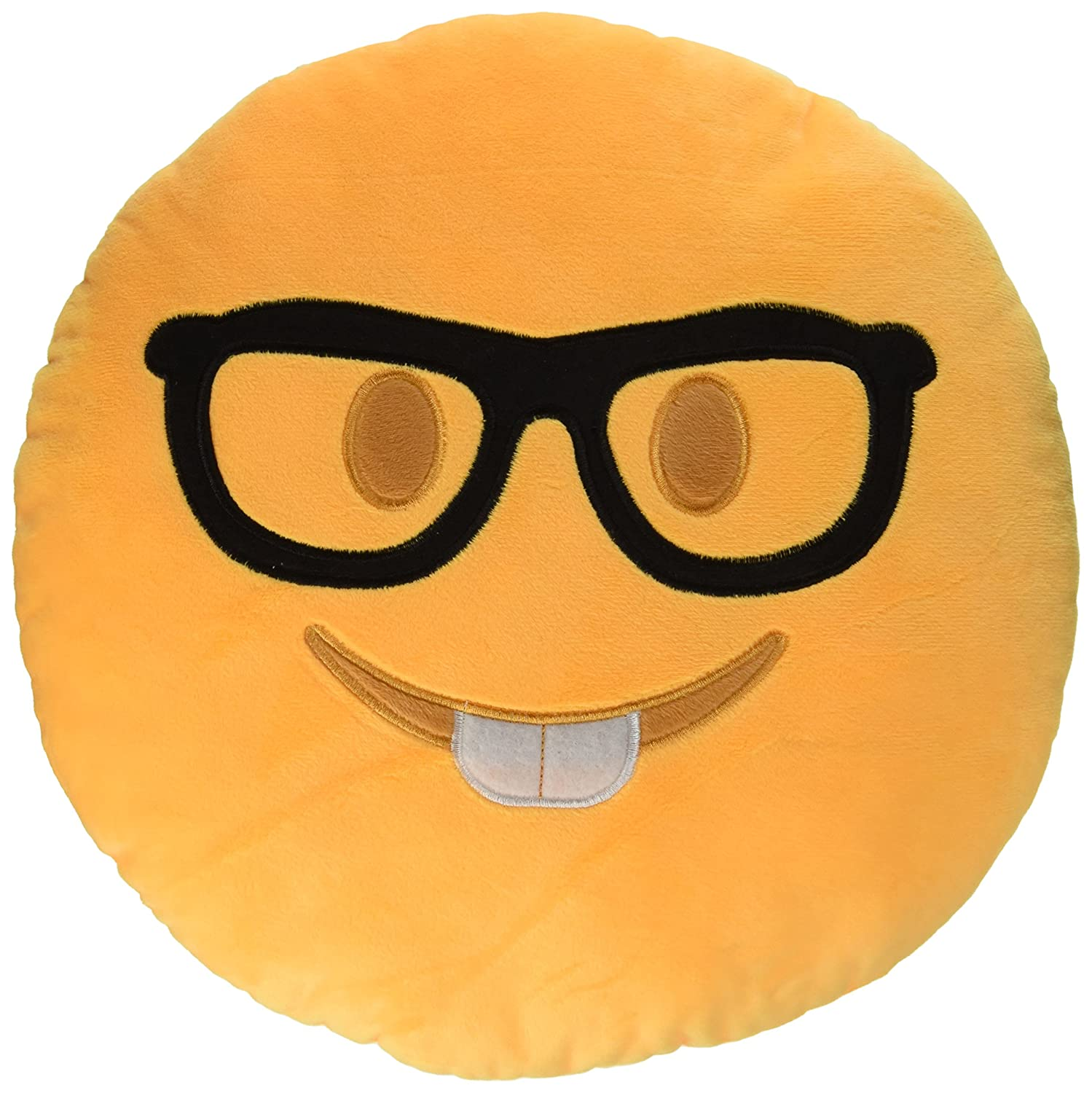 Amazon.com: 2 PACK - Nerd Face and Lady Nerd Emoji Pillow Emoticon Stuffed Plush Toy Doll Smiley (NERD FACE + LADY NERD) : Home & Kitchen