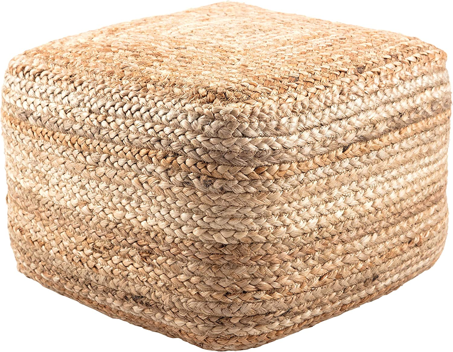 Modern Beige Cube Shape Jute Pouf Brown Solid Color Mid-Century Contemporary One Pillow
