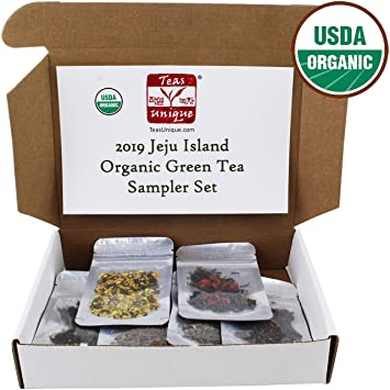 Teas Unique 2019 Korean Jeju Island Organic Green Tea Sampler Box, 12 Loose  Leaf Teas, 60g