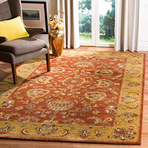 Safavieh Heritage Collection HG820A Handcrafted Traditional Oriental Red and Natural Wool Area Rug 3 x 5