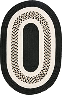 product image for Flowers Bay Oval Area Rug, 10 by 13-Feet, Black