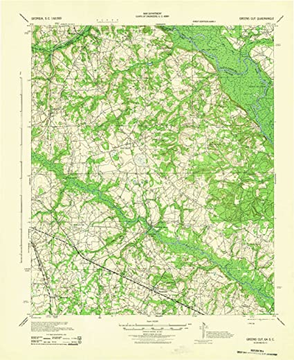 Elevation Map Of Georgia.Amazon Com Yellowmaps Greens Cut Ga Topo Map 1 62500 Scale 15 X