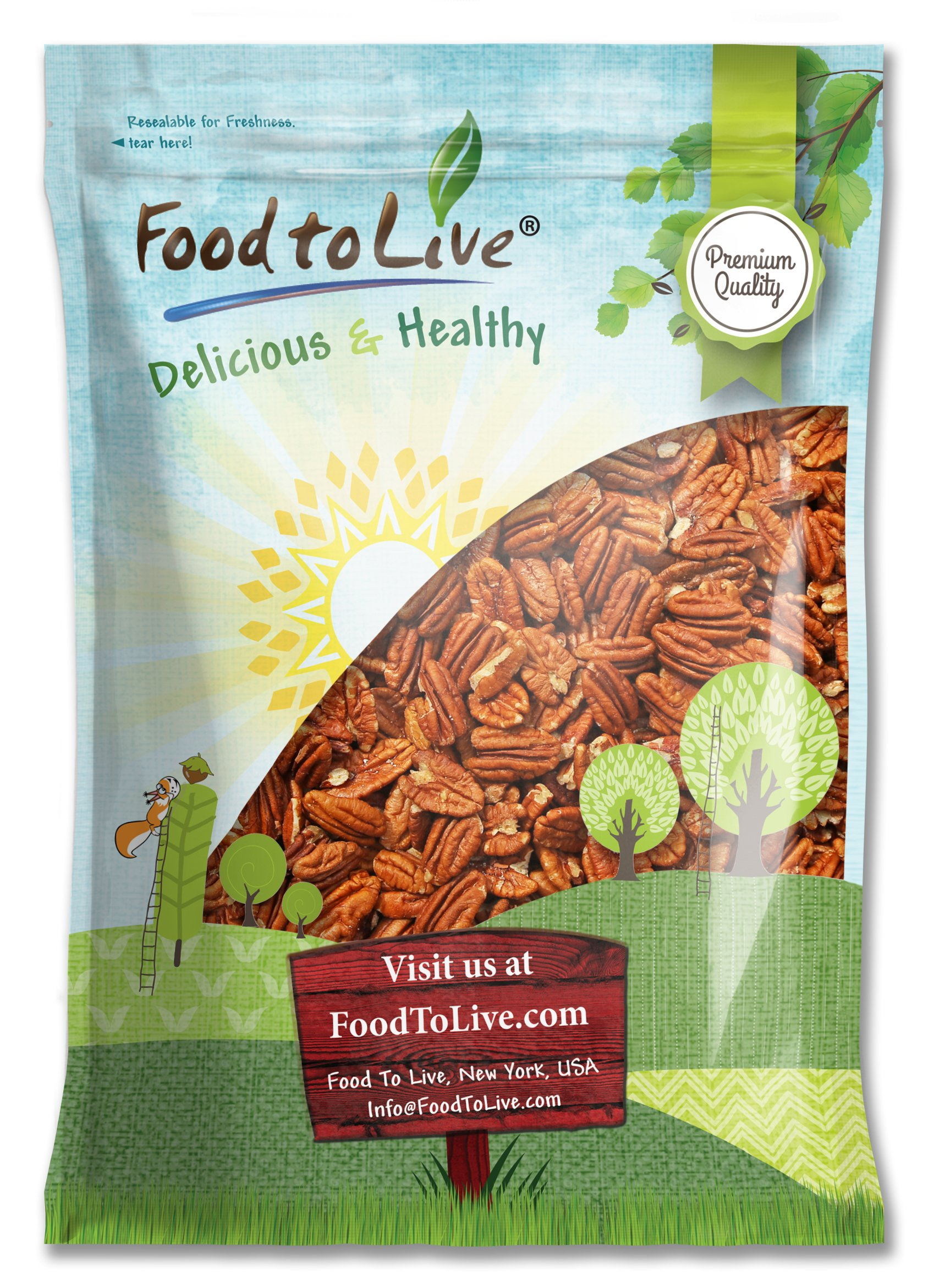 Pecans, 6 Pounds - Raw, No Shell, Kosher by Food to Live