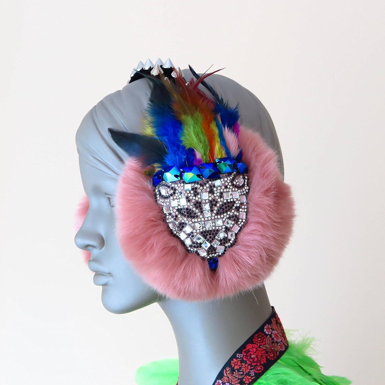 feather headdress burning man headpiece gothic headdress pink feather warrior earmuffs