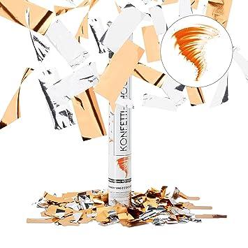 Wedding 8m Effect Height Orange//Silver Birthday Relaxdays 5 x Party Popper Orange 40 cm Confetti Shower Halloween
