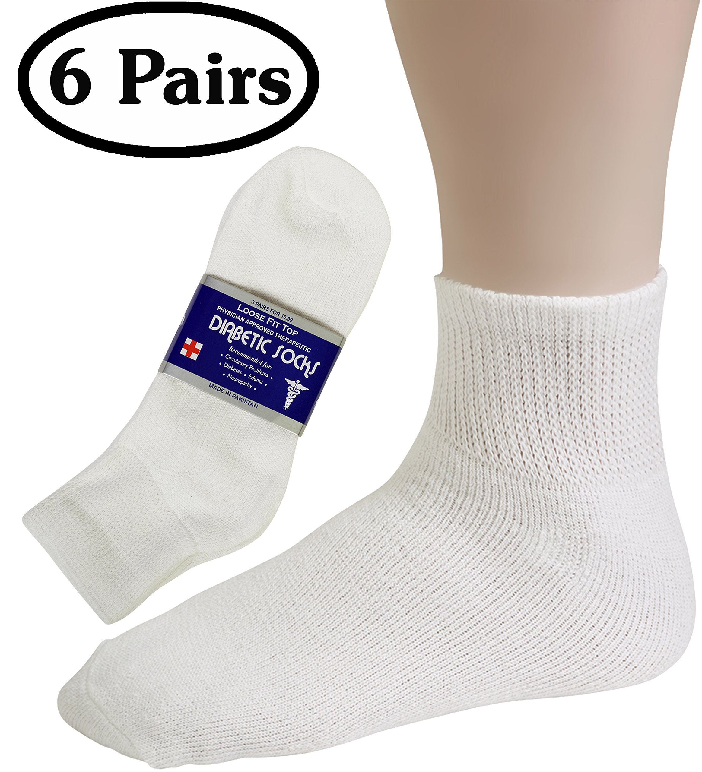 Diabetic Socks Womens Cotton 6-Pack Ankle White By DEBRA WEITZNER ankle/white womens 9-11