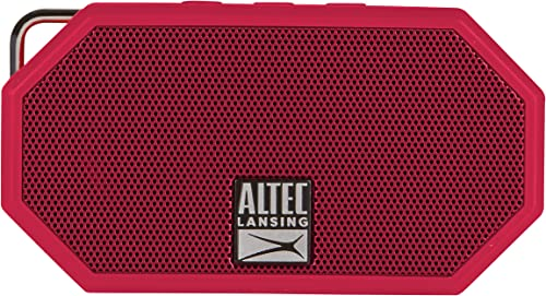Altec Lansing IMW257-DR Mini H2O Wireless Bluetooth Waterproof Speaker, Floating IP67 Waterproof, Boat, Hiking, Golf Cart, ATV, Utv, Lightweight, 6-Hour Battery Life, Red