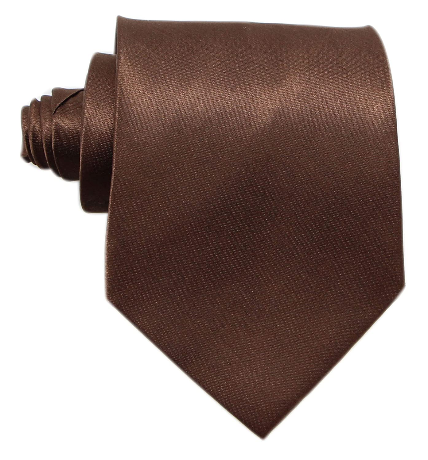 Brown Mens Solid Satin 3.9 Inch Wide Formal Necktie Pack 5 For Wedding By JAIFEI