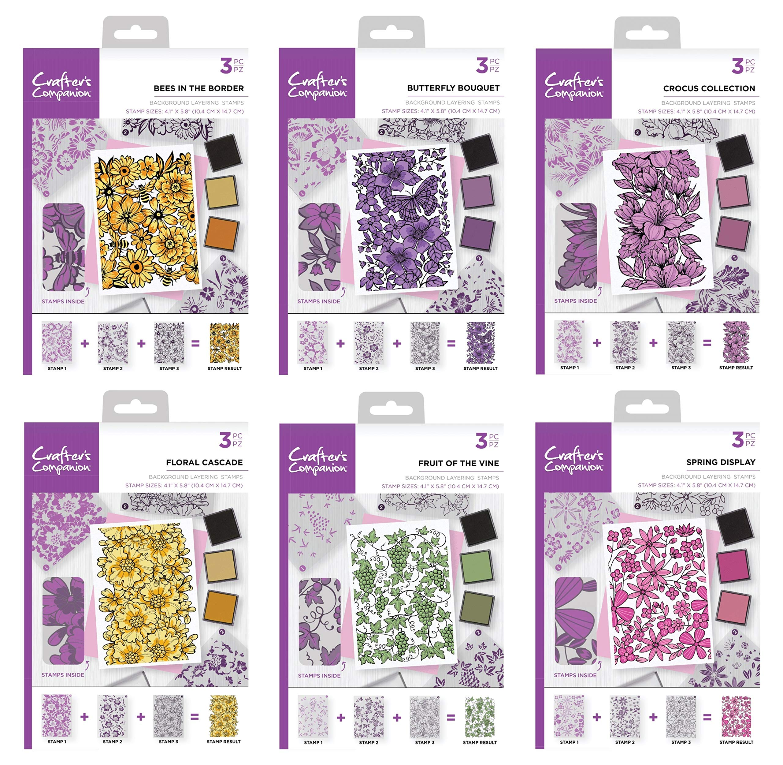 Crafter's Companion A6 Background Layering Stamps - All 6 Layering Stamps