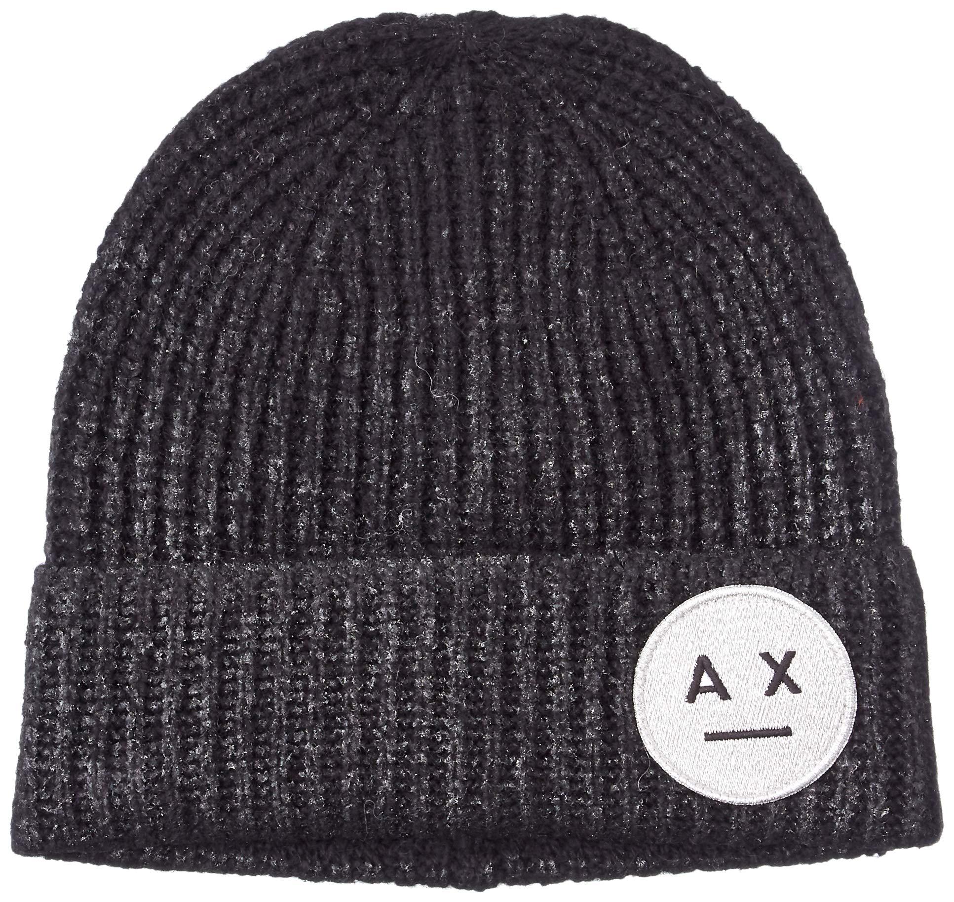 A|X Armani Exchange Women's Smile Logo Beanie, Black/dyecoated DTM Medium, TU