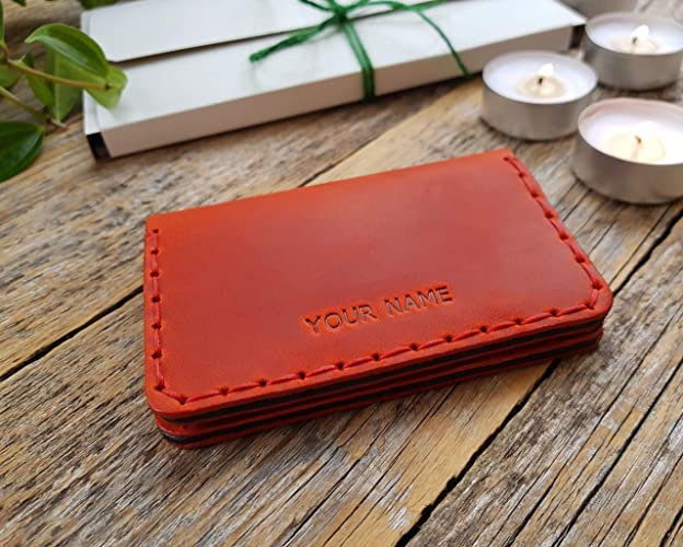 72b6d70bcac8 Personalized leather wallet. Great Christmas gift idea. Red and black  credit card